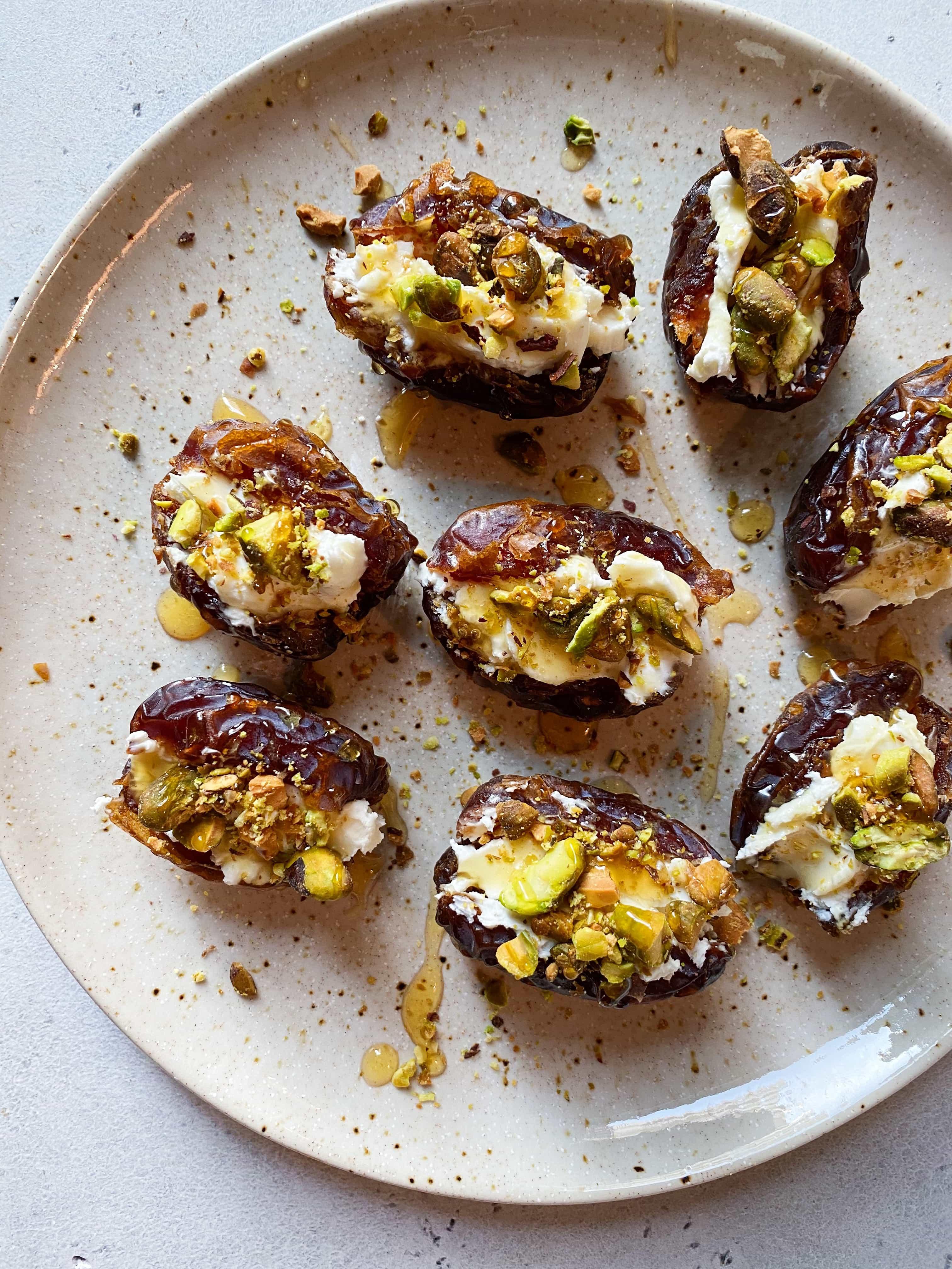 Honey Cream Cheese Stuffed Dates